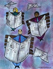 Graphic of newspapers; Size=180 pixels wide